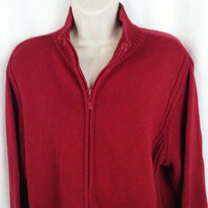 Faded Glory sweater XL Red Very Berry Full zipper